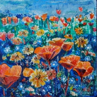 A Field of Poppies Encaustic Painting, Bjlane