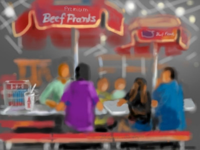 digital painting of eating lunch at Costco