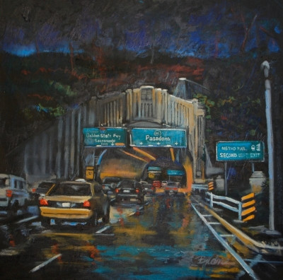 Pasadena Freeway, Oil painting by Bjlane