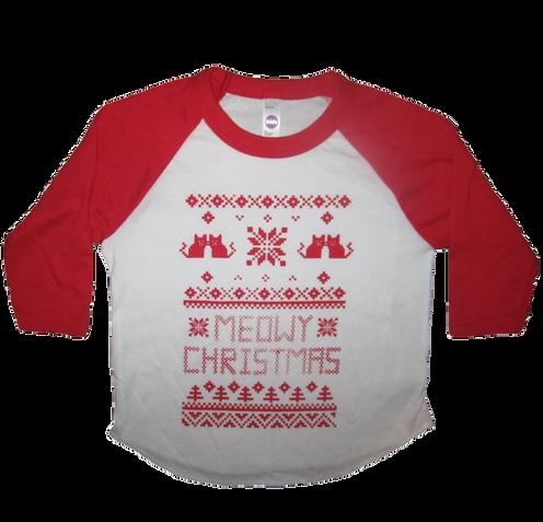 Meowy Christmas Sweater.Kid S Meowy Christmas Cat Sweater Raglan