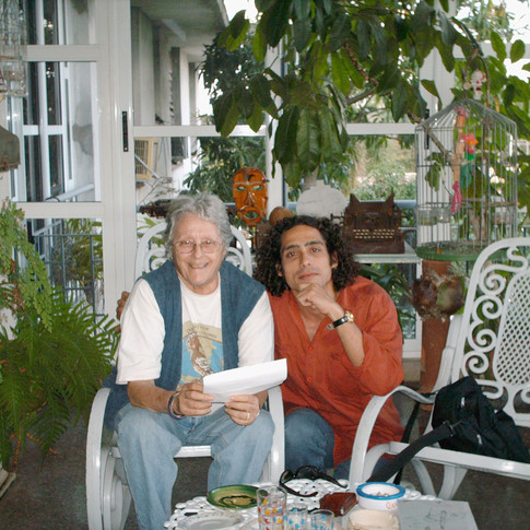 Abel Sierra Madero with Cuban ethnographer Natalia Bolívar during an interview (Havana, Circa 2004)