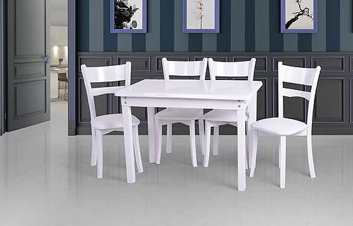 Ahşap Beyaz Masa Takımı