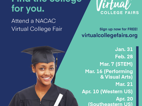 Sign Up Now for NACAC Virtual College Fairs