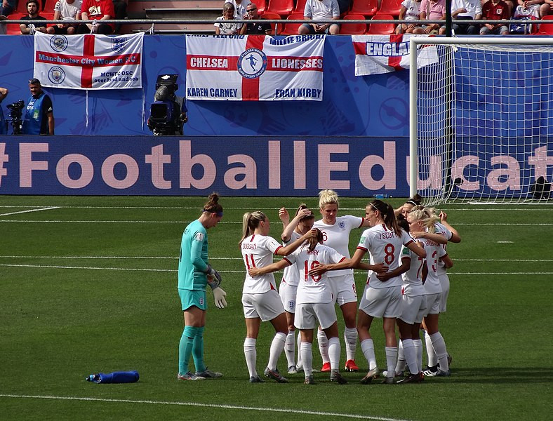 England women's football team, the Lionesses, huddle at the 2019 World Cup including