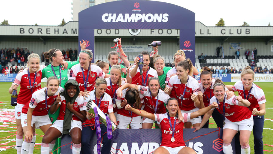 Arsenal Women FC celebrate winning the 2018-19 FA WSL season