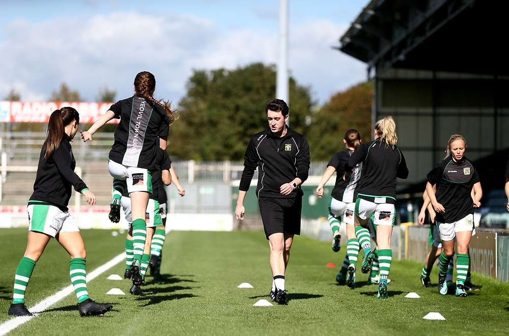 Ewan Greenhill of Yeovil Town Women works with the players