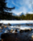 Lake with Snow in Estes Park
