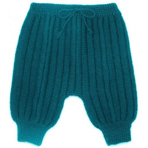 Sarouel pantalon laine 100% mérinos bleu pétrole