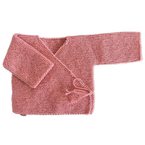 Brassière cache coeur laine 100% Mérinos vieux rose
