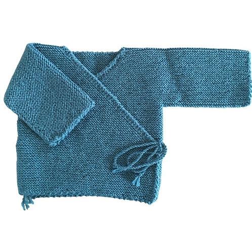Brassière cache coeur laine 100% Mérinos bleu pétrole