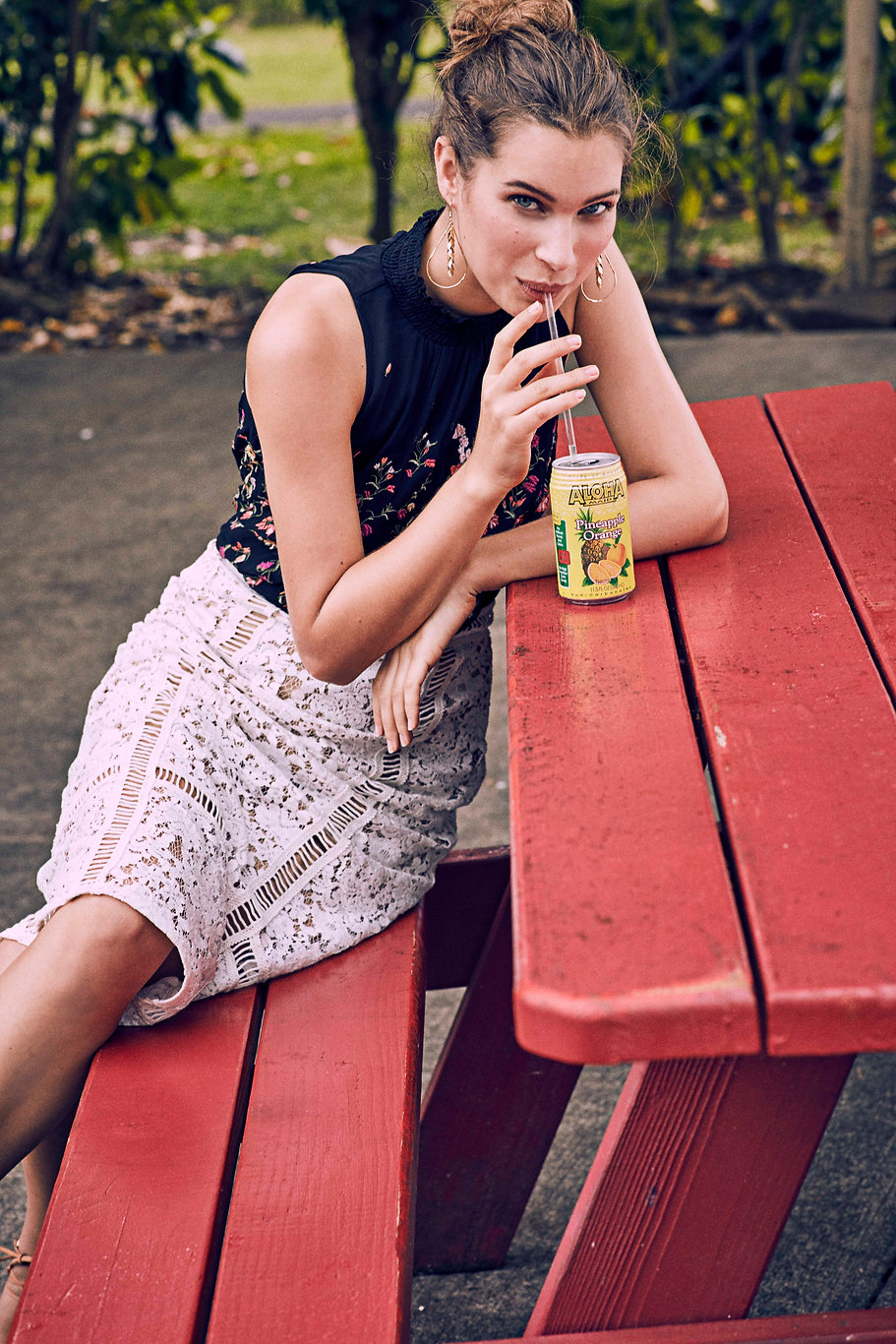 Lise Olsen Anthropologie Hawaii Swim beach bikini color hair make up soda smile laugh