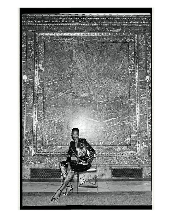 bergdorf goodman evening campaing, model mayowa nicholas wearing Altuzarra