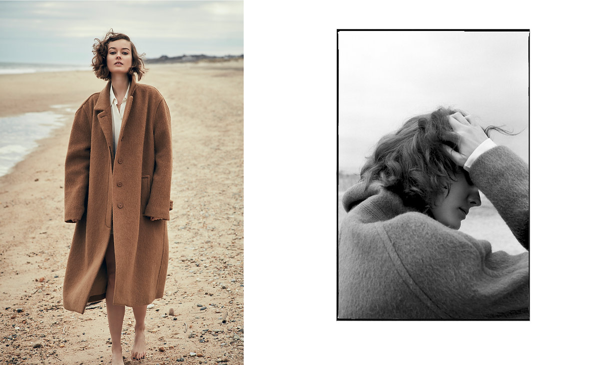 Jac Monika wearing a oversized jacket from Celine at the beach in Montauk