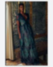 bergdorf goodman evening campaing, model mayowa nicholas wearing J Mendel dress