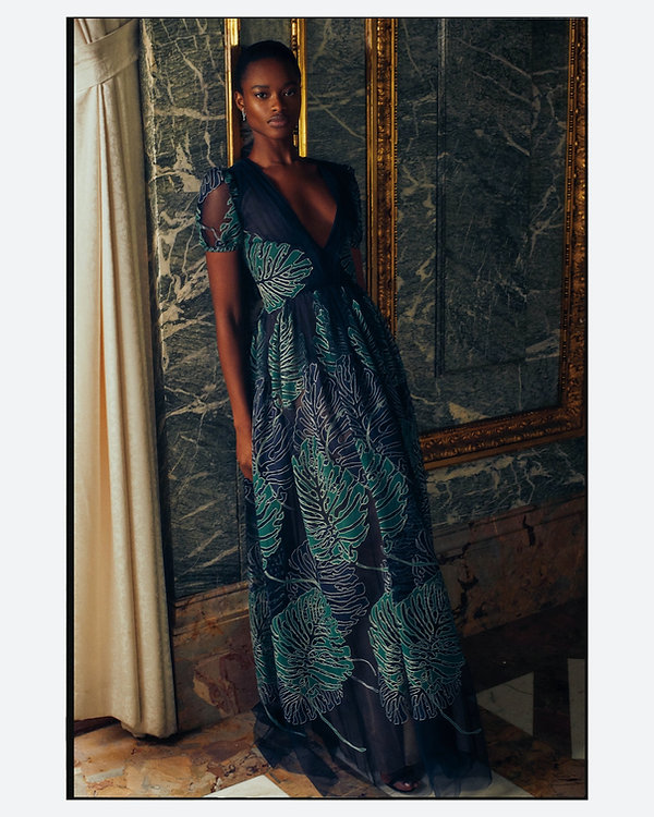 bergdorf goodman evening campaing, model mayowa nicholas wearing J Mendel dress