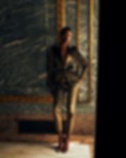 bergdorf goodman evening campaing, model mayowa nicholas wearing Altuzarra