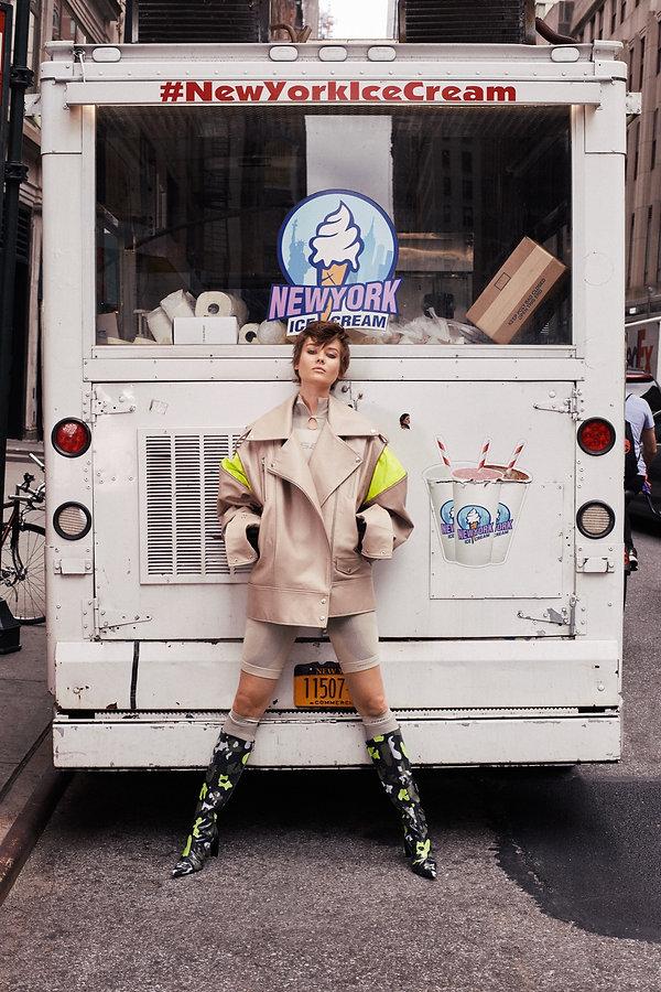 Jac Monika for Viva Moda in NYC, ice cream truck fashion by Will Vendramini