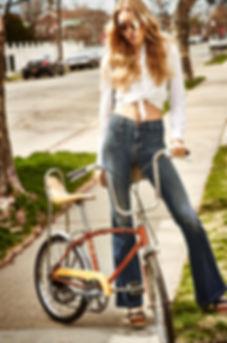 Astrid Eika shopbop summer haze seventies 70's outside pretty sexy cool fun bicycle attitute smile