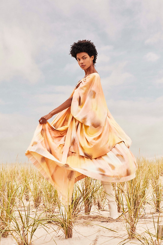 Ebonee Davis for V Magazine, watercolor clothes at the beach by Will Vendramini