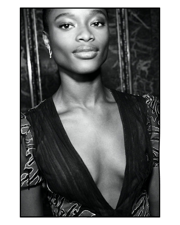 bergdorf goodman evening campaing, model mayowa nicholas wearing J Mendel close up