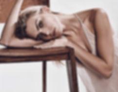 Emily Senko naked boobs topless black and white studio sexy underwear lingerie