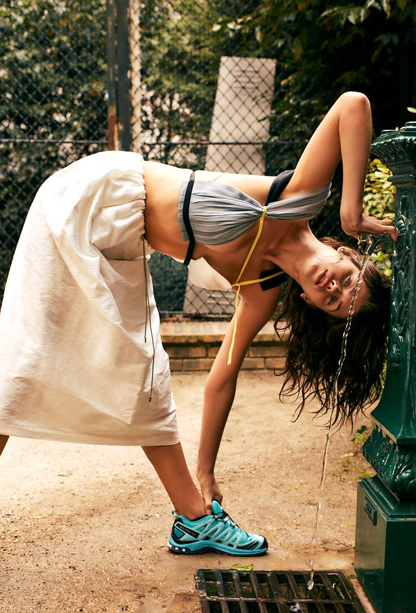 Georgia Fowler for Costume Magazine by Will Vendramini - water fountain in paris drinking water