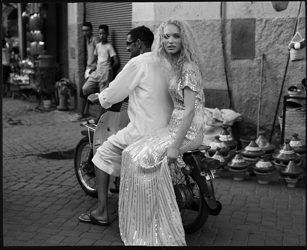 Bridal Wedding shoot in Morocco, Marakesh editorial for Jenny Packham riding the motorcycle