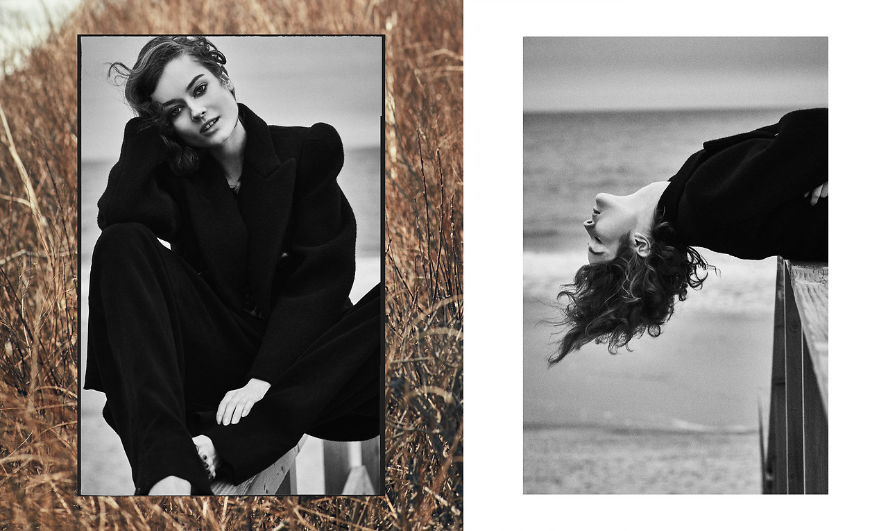 Jac Monika being free and pretty, smile with a great mood at the beach in Montauk, wearing menswear inpired outfits