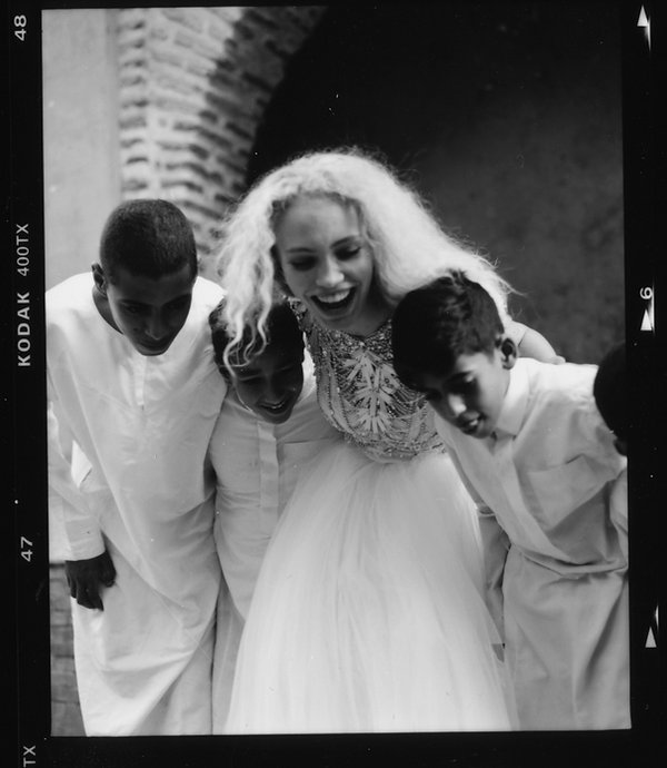 Bridal Wedding shoot in Morocco, Marakesh editorial for Jenny Packham with morrocan kids