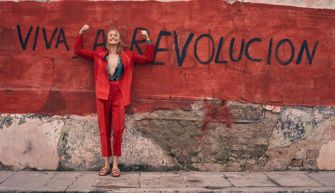 Viva La Revolucion - Will Vendramini - Elle magazine with brooke perry shot in Havana Cuba red suit