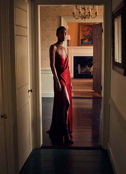 Intermix Fall 18 Campaign, Alicia Burke with a red gown dress