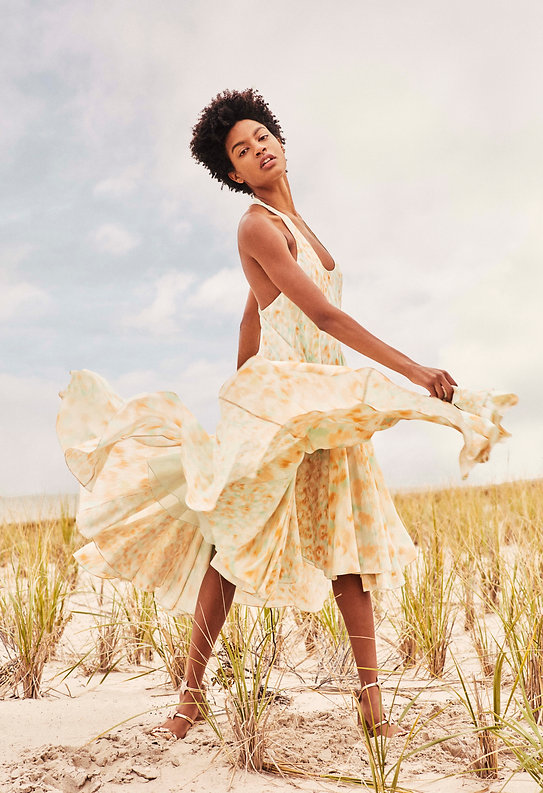 Ebonee Davis for V Magazine, watercolor clothes at the beach