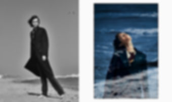 Jac Monika wearing calvin klein collection blazer at the beach in montauk, double exposure ocean and mood