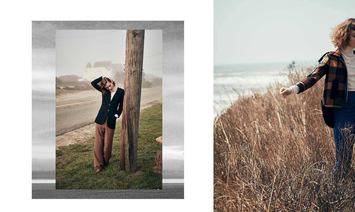 Jac Monika walking on a field and on the road by a cliff in montauk