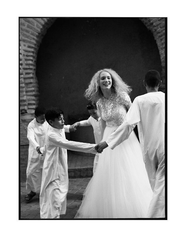Bridal Wedding shoot in Morocco, Marakesh editorial for Jenny Packham fun with kids