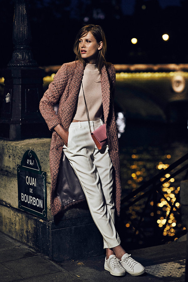 Laura Julie Iro Paris cozy apartment france sexy chic pink gap night time cais marais boat river lights nighttime