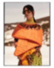 Amand Wellsh wearing Pucci in snow up in the mountains of Vail Colorado