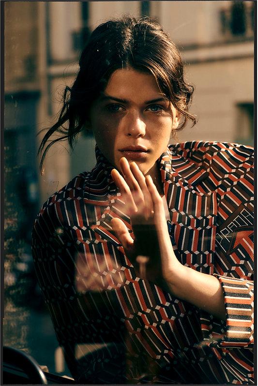 Georgia Fowler for Costume Magazine by Will Vendramini - Prada Suit windown beauty close up