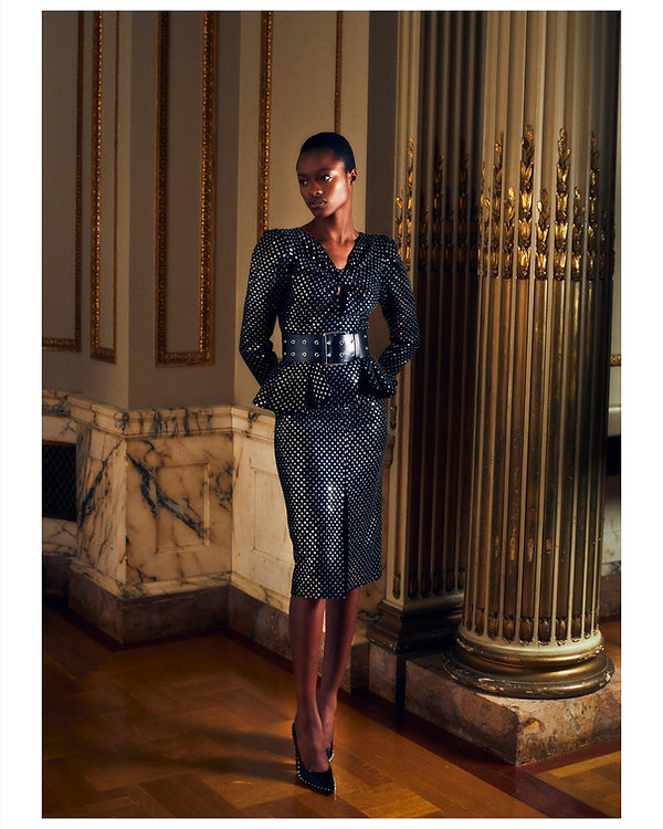 bergdorf goodman evening campaing, model mayowa nicholas wearing MichaelKors