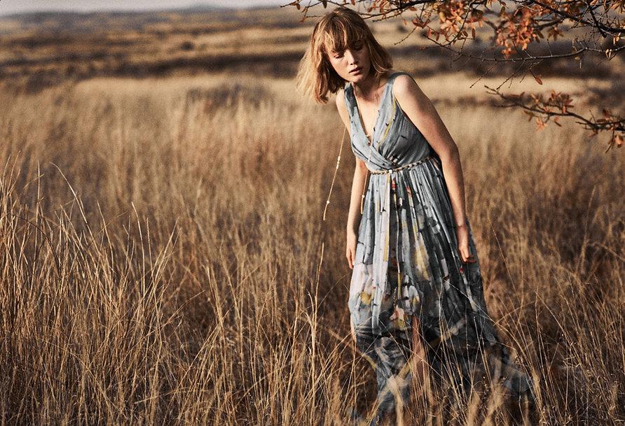 Lou Schoof Anthropologie Mexico kimono straw fall brown dresses long field