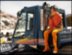 Amand Wellsh wearing Pucci in truck snowmobile editorial snow vail mountain