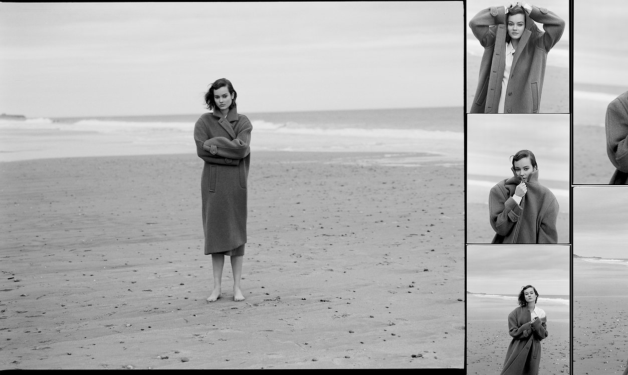Jac Monika wearing a oversized jacket from Celine at the beach in Montauk, film