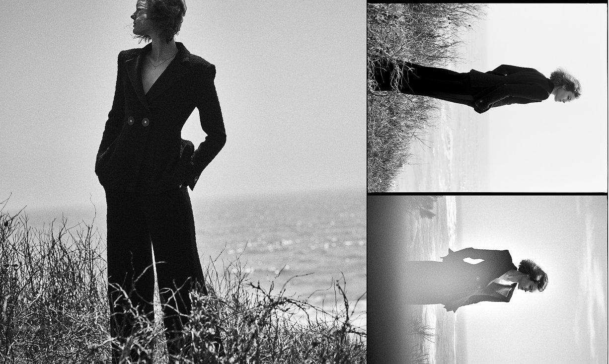 Jac Monika wearing Chanel at a cliff in mountak