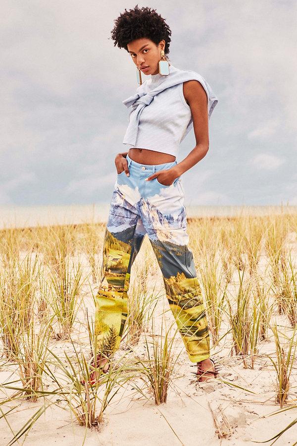 Ebonee Davis for V Magazine, watercolor clothes at the beach