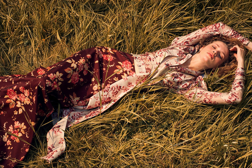 Intermix Fall 18 Campaign, laying on grass, dreamy