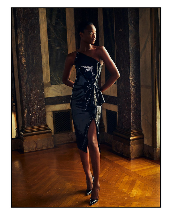 bergdorf goodman evening campaing, model mayowa nicholas wearing Pamela Rolland