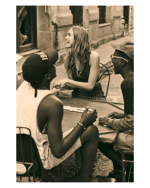 Viva La Revolucion - Will Vendramini - Elle magazine with brooke perry shot in Havana Cuba playing domino with stranger film