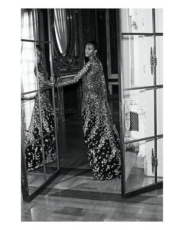 bergdorf goodman evening campaing, model mayowa nicholas wearing Naeem Kahn