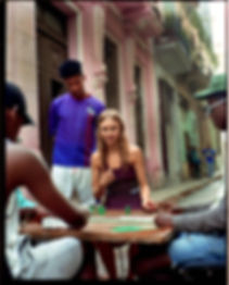 Viva La Revolucion - Will Vendramini - Elle magazine with brooke perry shot in Havana Cuba Playing Domino with strangers