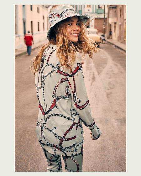 Viva La Revolucion - Will Vendramini - Elle magazine with brooke perry shot in Havana Cuba cool bucket hat